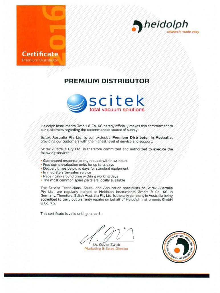 Premium Distributor Certificate Scitek